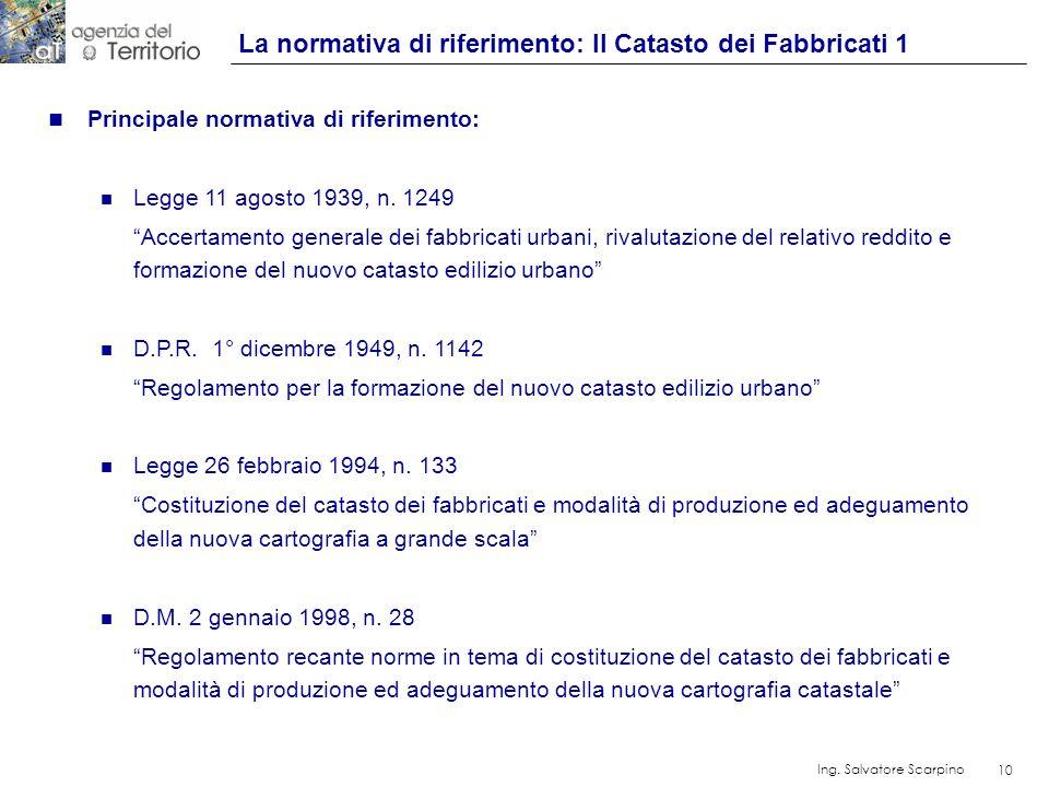 10 Ing. Salvatore Scarpino 10 n Principale normativa di riferimento: n Legge 11 agosto 1939, n. 1249 Accertamento generale dei fabbricati urbani, riva