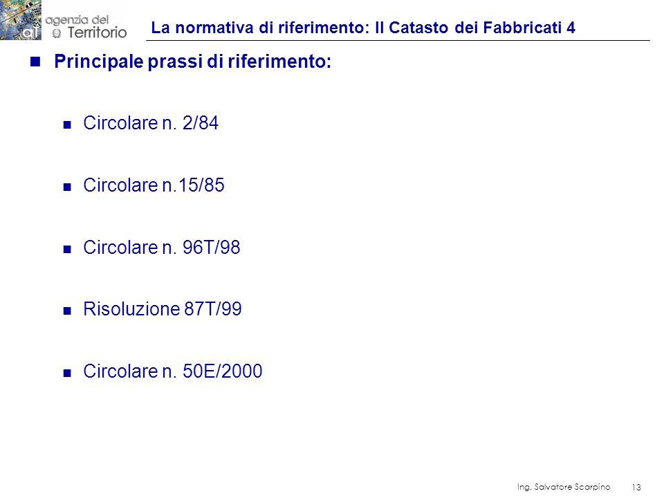 13 Ing. Salvatore Scarpino 13 n Principale prassi di riferimento: n Circolare n. 2/84 n Circolare n.15/85 n Circolare n. 96T/98 n Risoluzione 87T/99 n