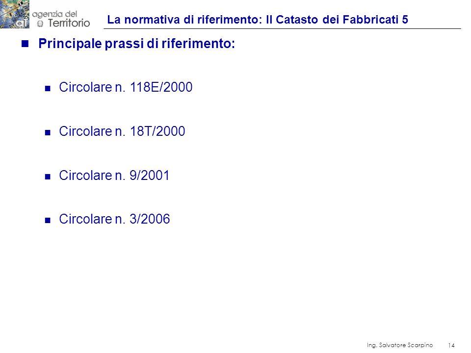 14 Ing. Salvatore Scarpino 14 n Principale prassi di riferimento: n Circolare n. 118E/2000 n Circolare n. 18T/2000 n Circolare n. 9/2001 n Circolare n