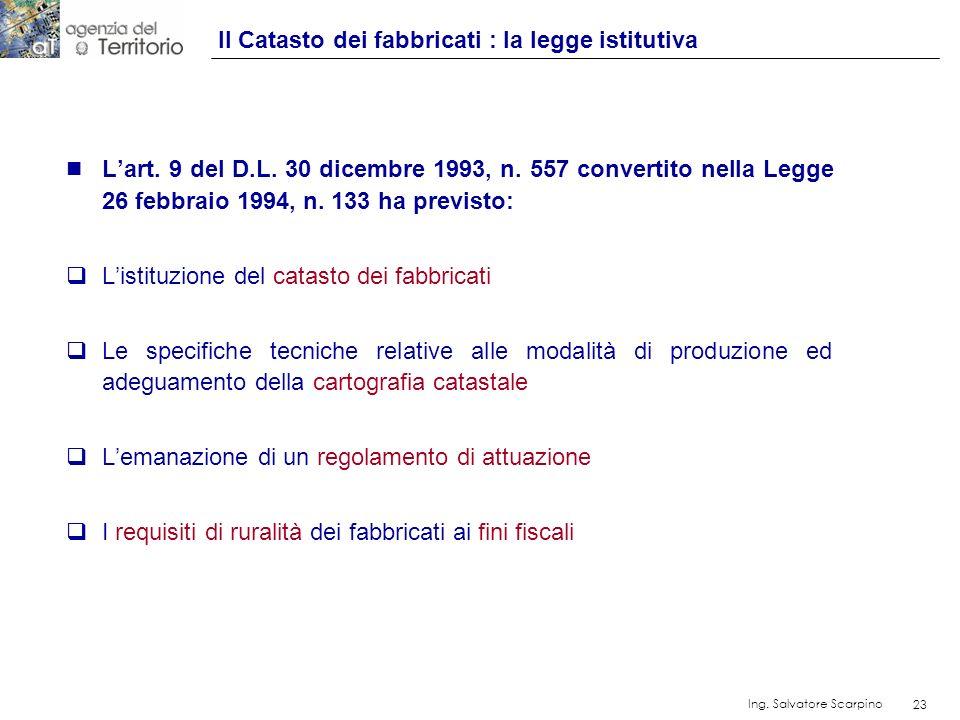 23 Ing. Salvatore Scarpino 23 n Lart. 9 del D.L. 30 dicembre 1993, n. 557 convertito nella Legge 26 febbraio 1994, n. 133 ha previsto: Listituzione de