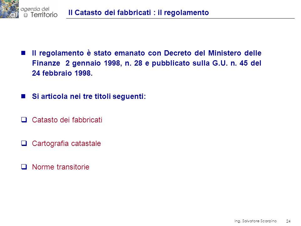 24 Ing. Salvatore Scarpino 24 n Il regolamento è stato emanato con Decreto del Ministero delle Finanze 2 gennaio 1998, n. 28 e pubblicato sulla G.U. n