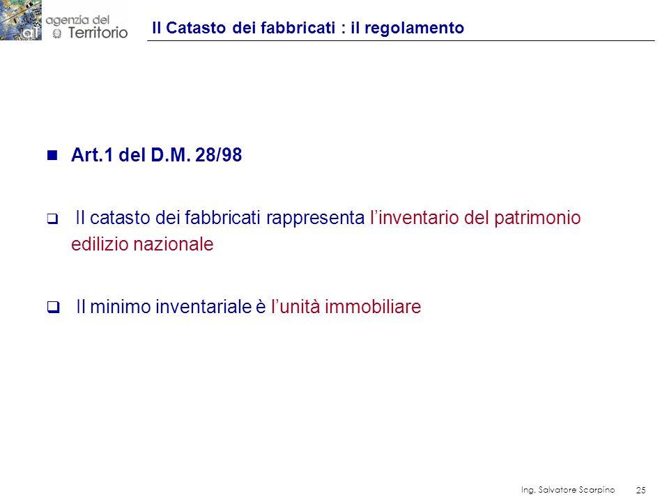 25 Ing. Salvatore Scarpino 25 n Art.1 del D.M. 28/98 Il catasto dei fabbricati rappresenta linventario del patrimonio edilizio nazionale Il minimo inv