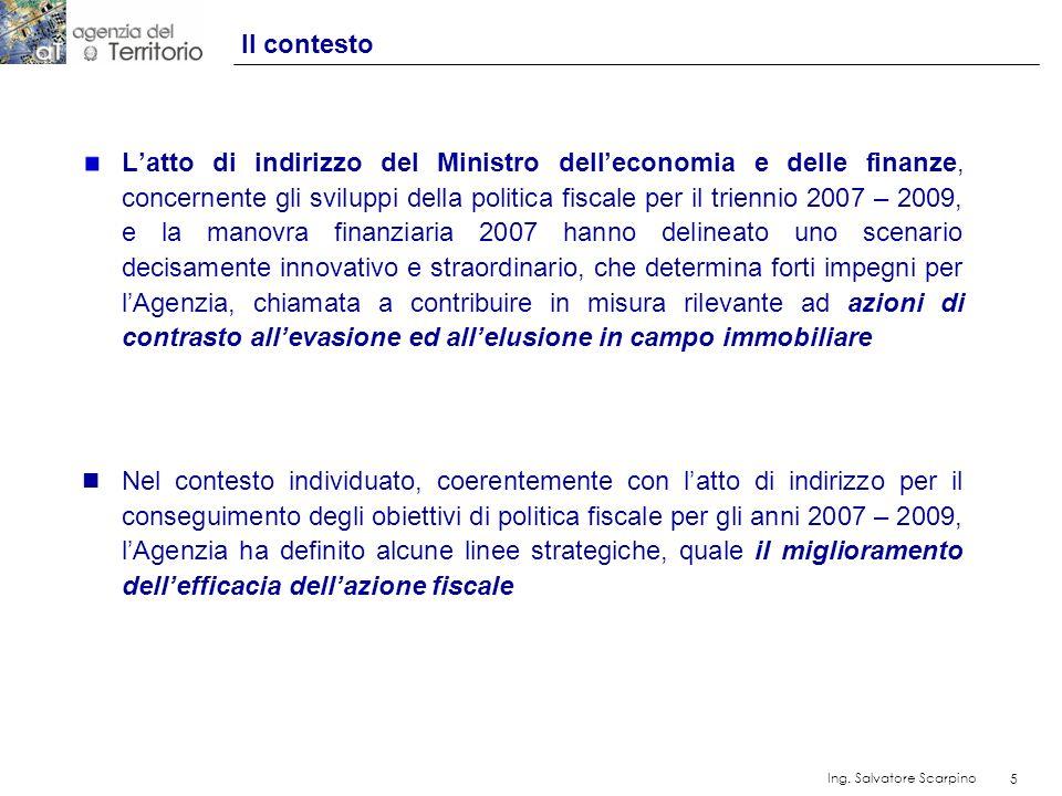 5 Ing. Salvatore Scarpino 5 Latto di indirizzo del Ministro delleconomia e delle finanze, concernente gli sviluppi della politica fiscale per il trien