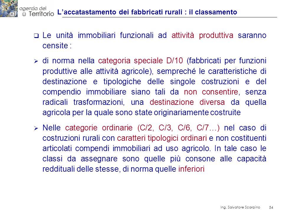 54 Ing. Salvatore Scarpino 54 Le unità immobiliari funzionali ad attività produttiva saranno censite : di norma nella categoria speciale D/10 (fabbric