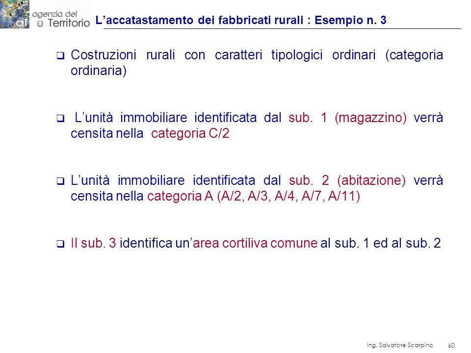 60 Ing. Salvatore Scarpino 60 Costruzioni rurali con caratteri tipologici ordinari (categoria ordinaria) Lunità immobiliare identificata dal sub. 1 (m