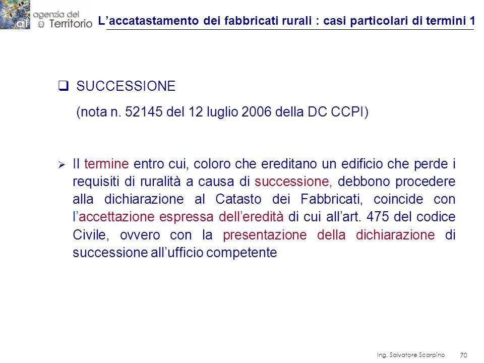 70 Ing. Salvatore Scarpino 70 SUCCESSIONE (nota n. 52145 del 12 luglio 2006 della DC CCPI) Il termine entro cui, coloro che ereditano un edificio che