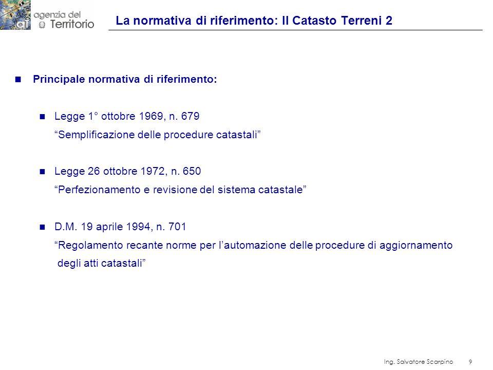 9 Ing. Salvatore Scarpino 9 n Principale normativa di riferimento: n Legge 1° ottobre 1969, n. 679 Semplificazione delle procedure catastali n Legge 2