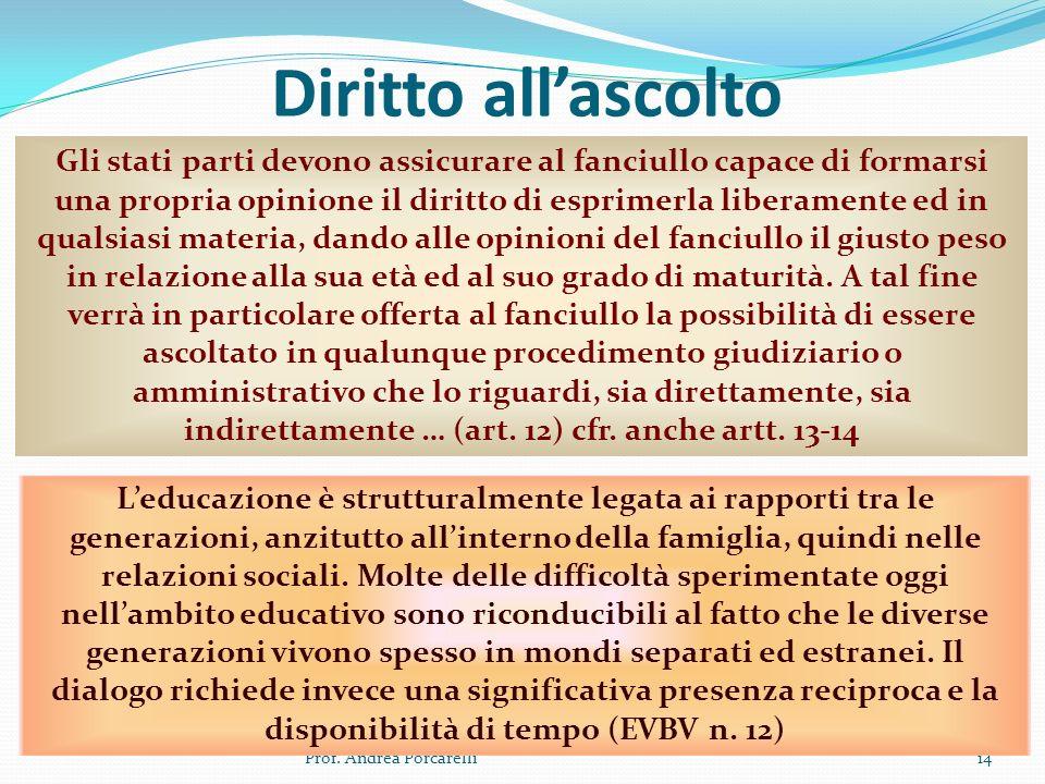 Diritto allascolto Prof. Andrea Porcarelli14 Gli stati parti devono assicurare al fanciullo capace di formarsi una propria opinione il diritto di espr