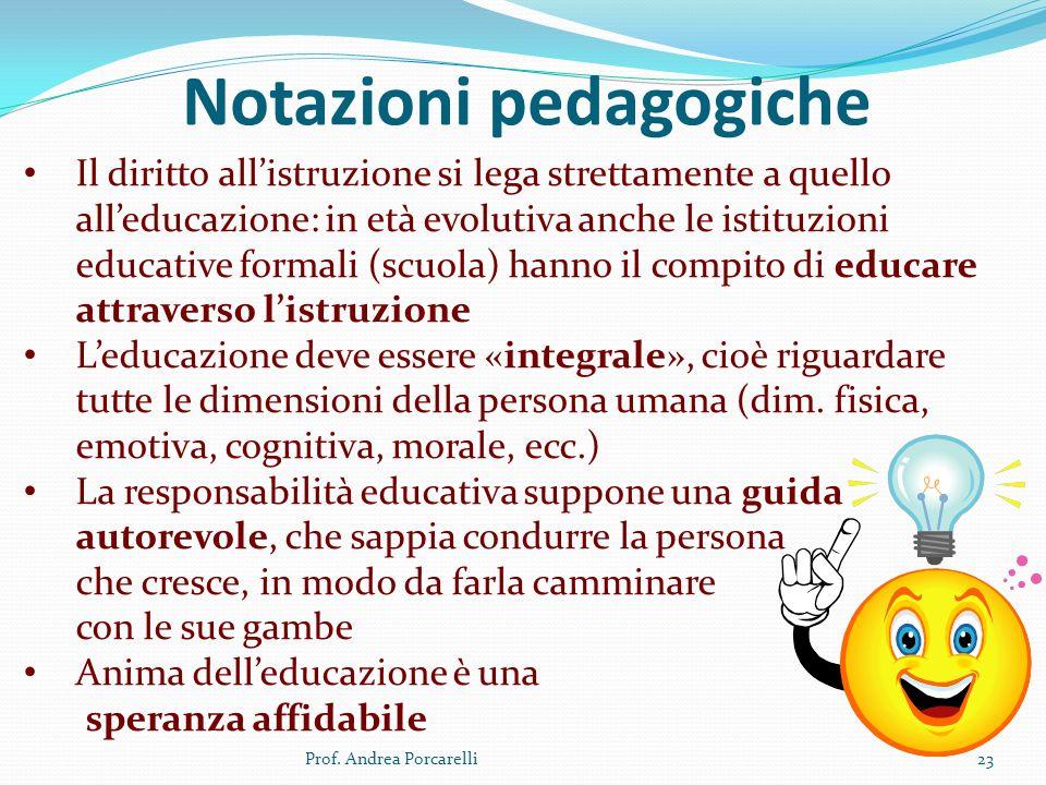 Notazioni pedagogiche Prof. Andrea Porcarelli23 Il diritto allistruzione si lega strettamente a quello alleducazione: in età evolutiva anche le istitu