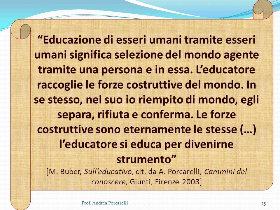 Prof. Andrea Porcarelli25 Educazione di esseri umani tramite esseri umani significa selezione del mondo agente tramite una persona e in essa. Leducato