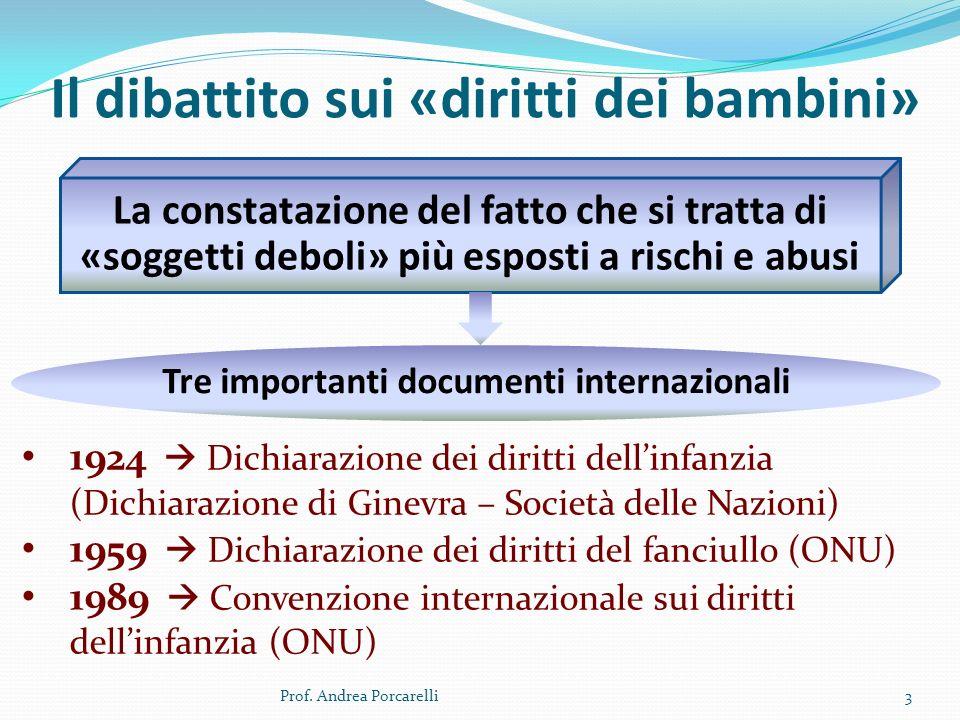 Il dibattito sui «diritti dei bambini» Prof. Andrea Porcarelli3 La constatazione del fatto che si tratta di «soggetti deboli» più esposti a rischi e a