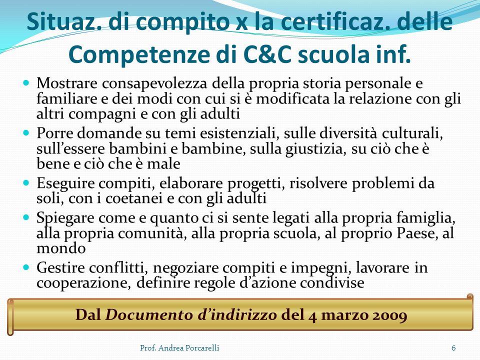 Situaz. di compito x la certificaz. delle Competenze di C&C scuola inf. Mostrare consapevolezza della propria storia personale e familiare e dei modi