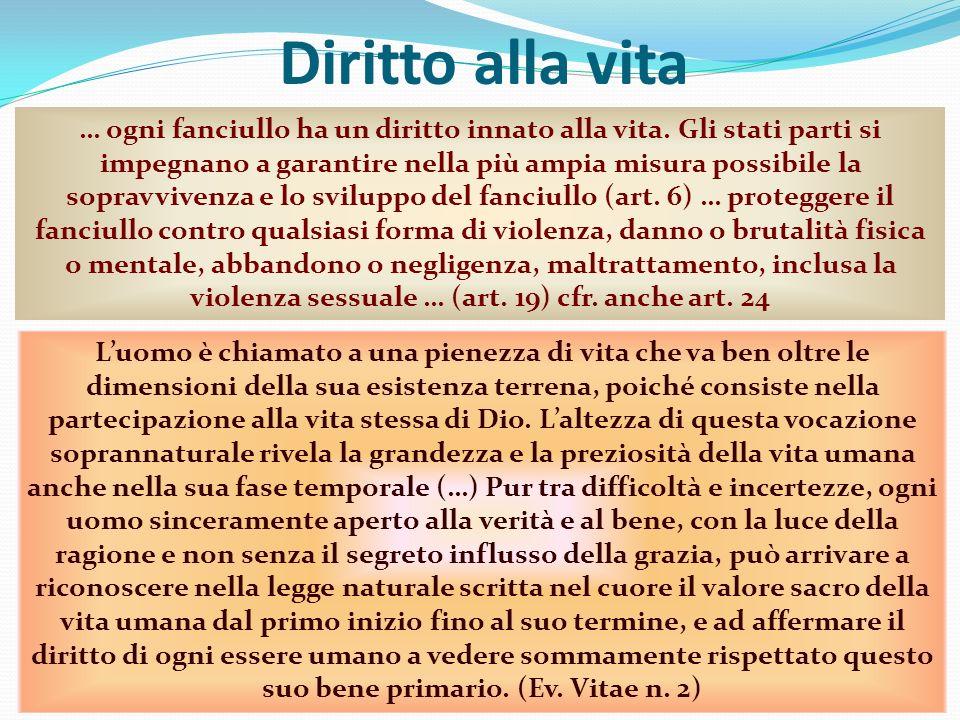 Diritto alla vita Prof. Andrea Porcarelli8 … ogni fanciullo ha un diritto innato alla vita. Gli stati parti si impegnano a garantire nella più ampia m