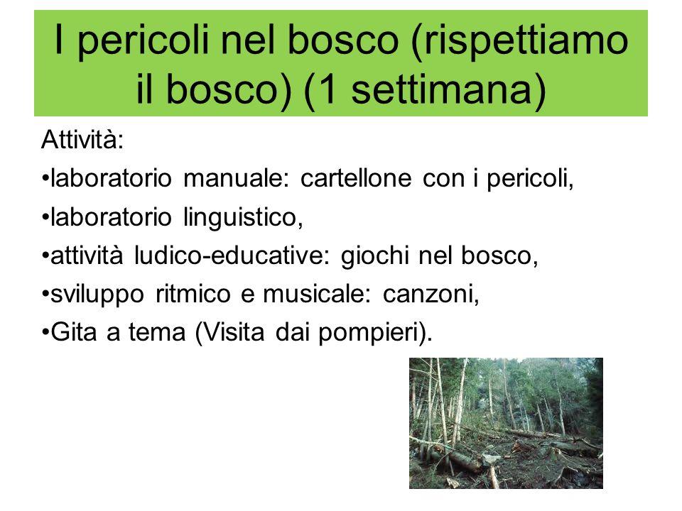 I pericoli nel bosco (rispettiamo il bosco) (1 settimana) Attività: laboratorio manuale: cartellone con i pericoli, laboratorio linguistico, attività