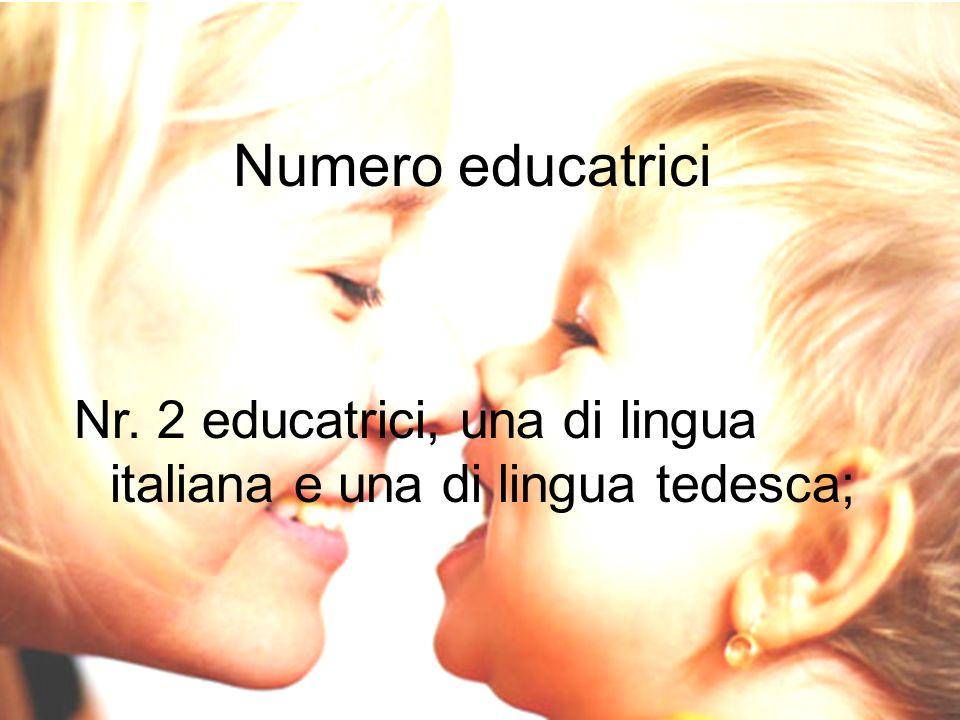 Numero educatrici Nr. 2 educatrici, una di lingua italiana e una di lingua tedesca;