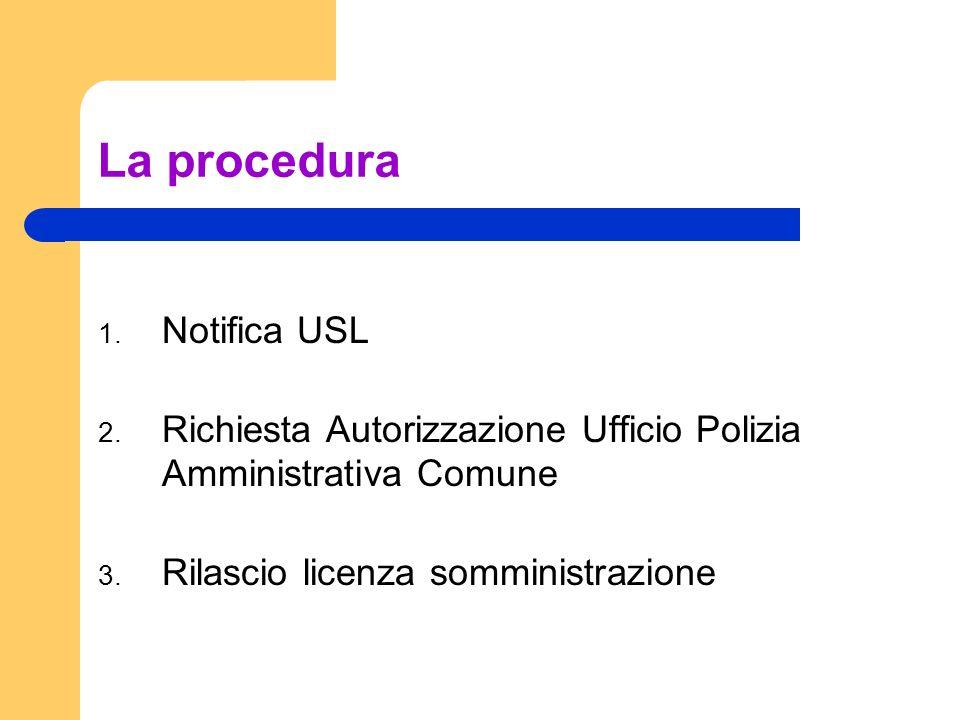 La procedura 1. Notifica USL 2. Richiesta Autorizzazione Ufficio Polizia Amministrativa Comune 3. Rilascio licenza somministrazione