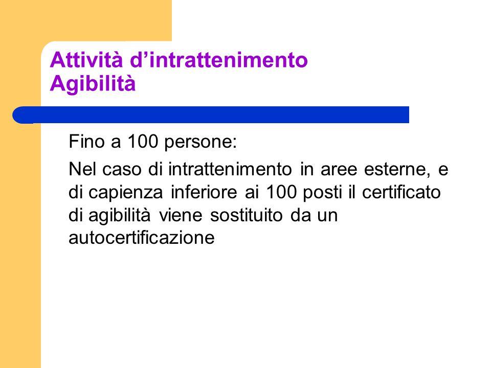 Attività dintrattenimento Agibilità Fino a 100 persone: Nel caso di intrattenimento in aree esterne, e di capienza inferiore ai 100 posti il certifica