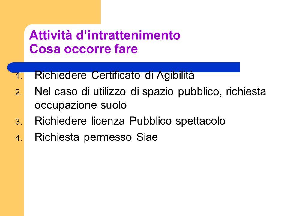 Attività dintrattenimento Cosa occorre fare 1. Richiedere Certificato di Agibilità 2. Nel caso di utilizzo di spazio pubblico, richiesta occupazione s