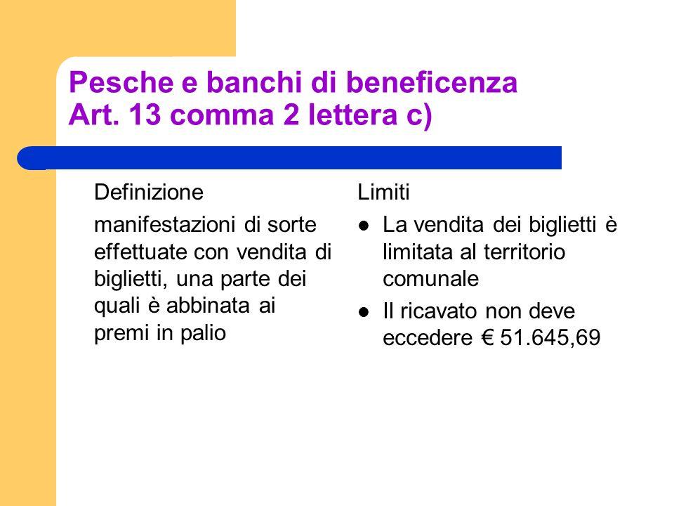 Pesche e banchi di beneficenza Art. 13 comma 2 lettera c) Definizione manifestazioni di sorte effettuate con vendita di biglietti, una parte dei quali