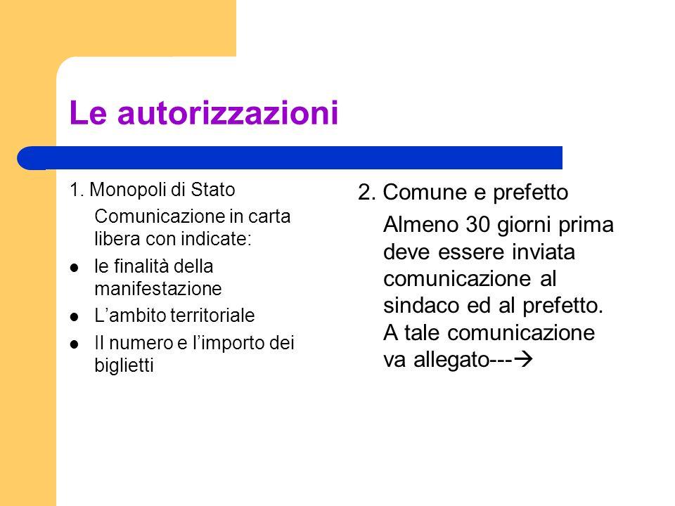 Le autorizzazioni 1. Monopoli di Stato Comunicazione in carta libera con indicate: le finalità della manifestazione Lambito territoriale Il numero e l