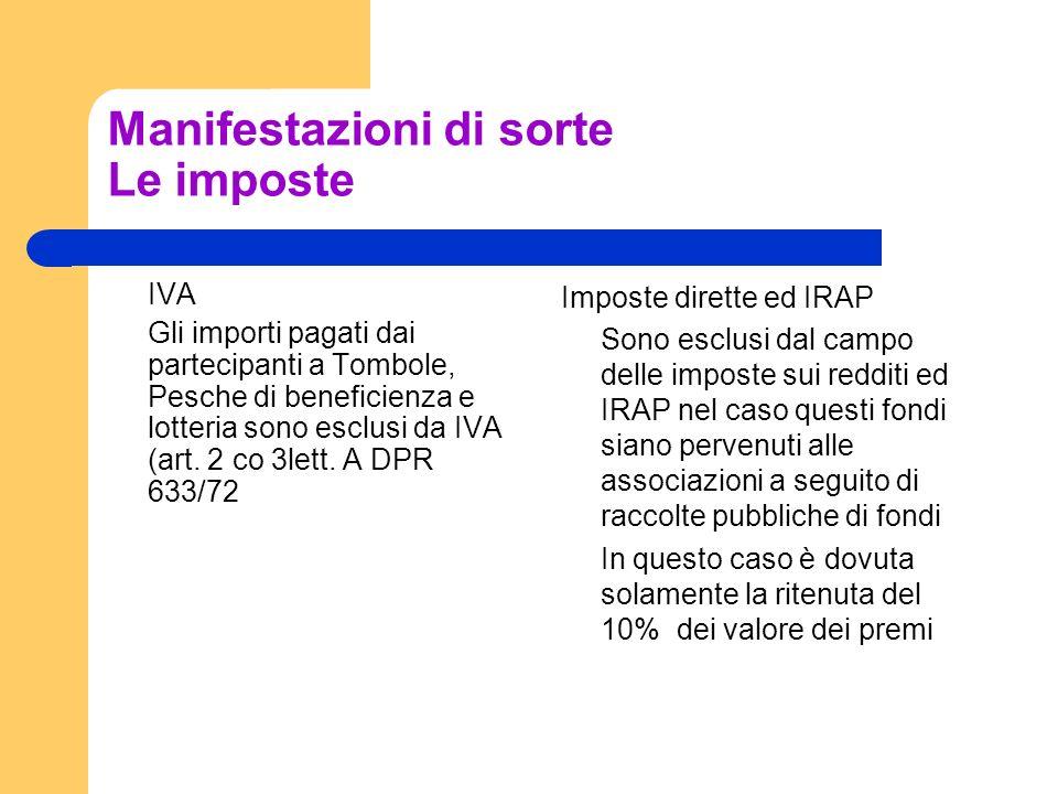 Manifestazioni di sorte Le imposte IVA Gli importi pagati dai partecipanti a Tombole, Pesche di beneficienza e lotteria sono esclusi da IVA (art.