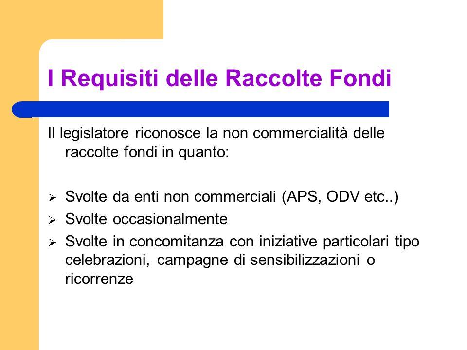 I Requisiti delle Raccolte Fondi Il legislatore riconosce la non commercialità delle raccolte fondi in quanto: Svolte da enti non commerciali (APS, OD