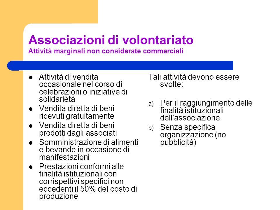 Associazioni di volontariato Attività marginali non considerate commerciali Attività di vendita occasionale nel corso di celebrazioni o iniziative di