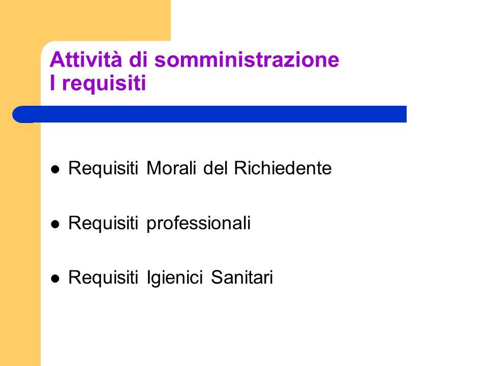 Attività di somministrazione I requisiti Requisiti Morali del Richiedente Requisiti professionali Requisiti Igienici Sanitari