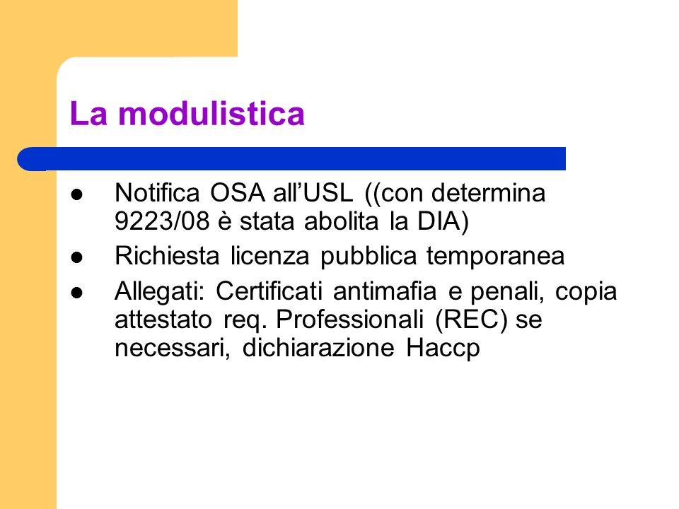 La modulistica Notifica OSA allUSL ((con determina 9223/08 è stata abolita la DIA) Richiesta licenza pubblica temporanea Allegati: Certificati antimafia e penali, copia attestato req.