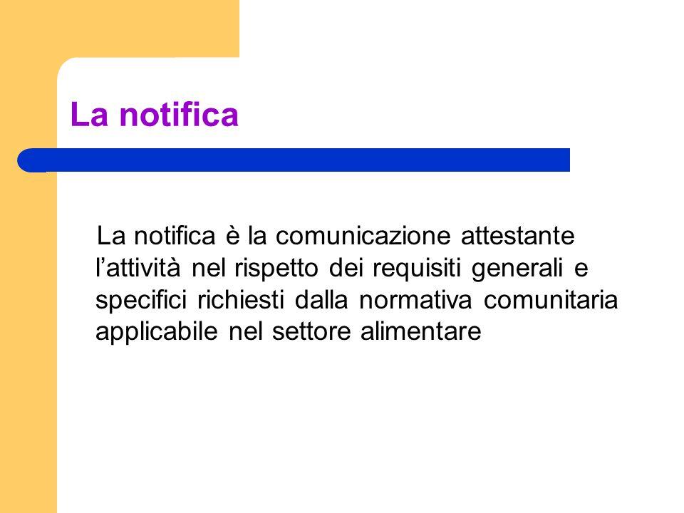 La notifica La notifica è la comunicazione attestante lattività nel rispetto dei requisiti generali e specifici richiesti dalla normativa comunitaria