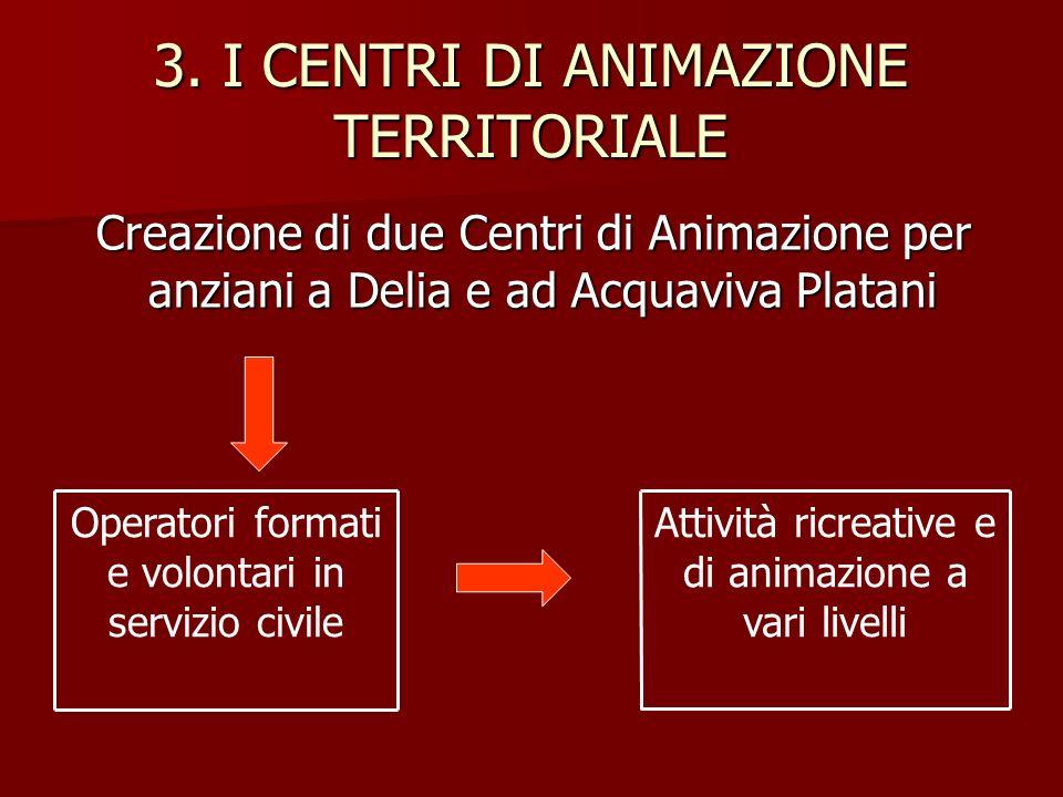 3. I CENTRI DI ANIMAZIONE TERRITORIALE Creazione di due Centri di Animazione per anziani a Delia e ad Acquaviva Platani Creazione di due Centri di Ani