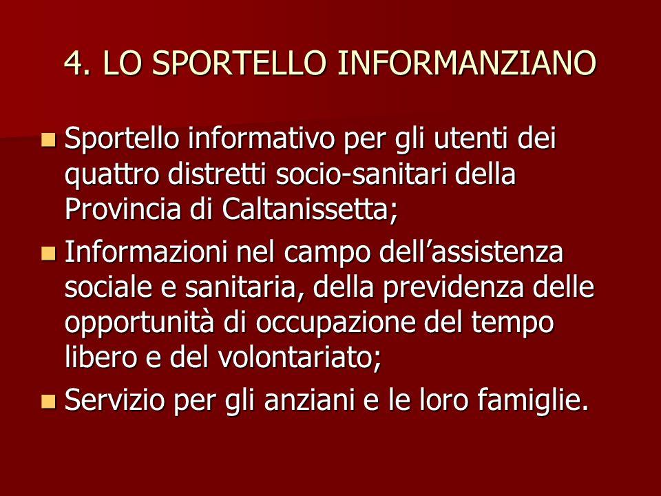 4. LO SPORTELLO INFORMANZIANO Sportello informativo per gli utenti dei quattro distretti socio-sanitari della Provincia di Caltanissetta; Informazioni
