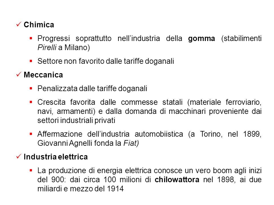 I settori industriali Siderurgia Acciaierie di Terni; altri importanti impianti a Savona, Piombino e bagnoli Favorita dalle tariffe del 1887 Dipendent