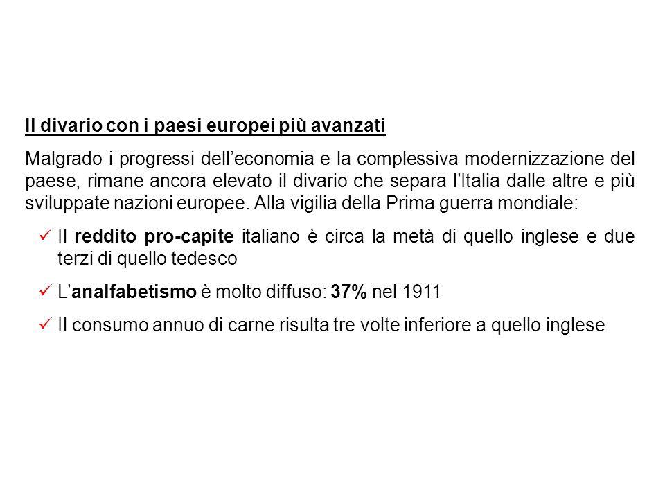 Conseguenze sociali della modernizzazione Grazie alla crescita economica si assiste ad un deciso miglioramento del tenore di vita degli italiani, sopr