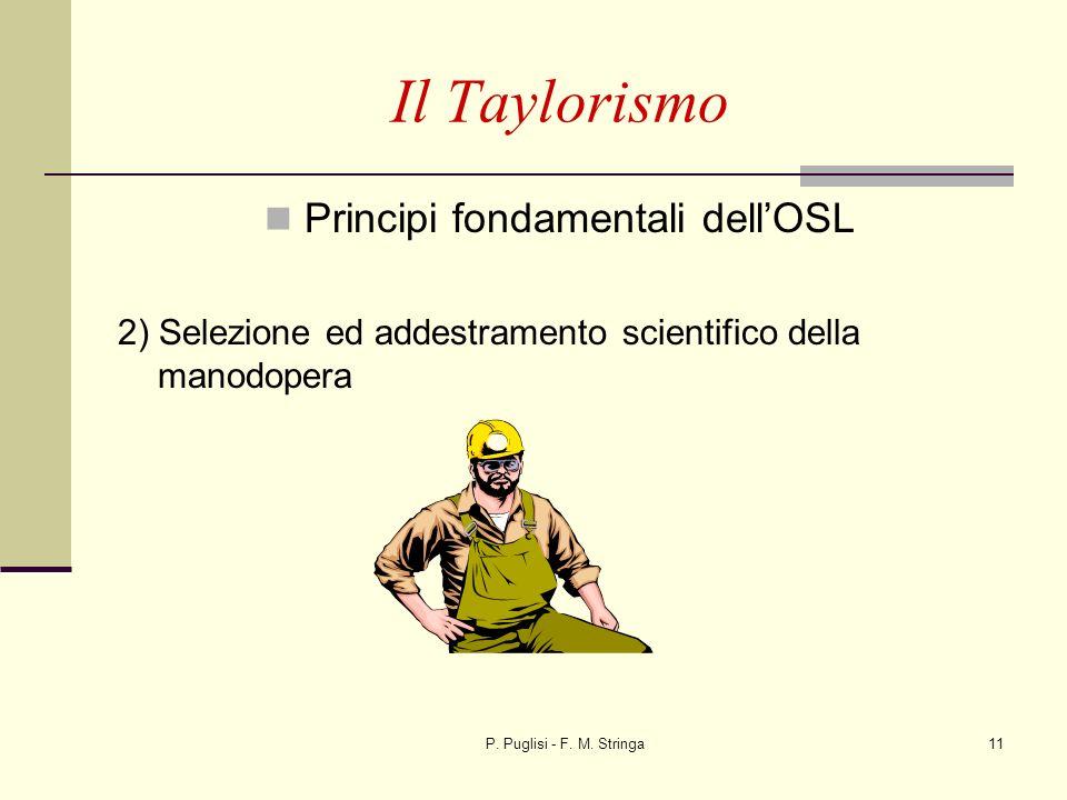 P. Puglisi - F. M. Stringa11 Il Taylorismo Principi fondamentali dellOSL 2) Selezione ed addestramento scientifico della manodopera