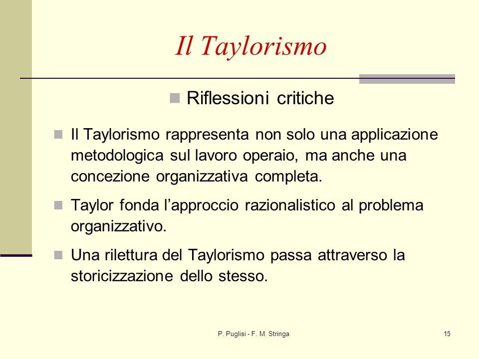 P. Puglisi - F. M. Stringa15 Il Taylorismo Riflessioni critiche Il Taylorismo rappresenta non solo una applicazione metodologica sul lavoro operaio, m