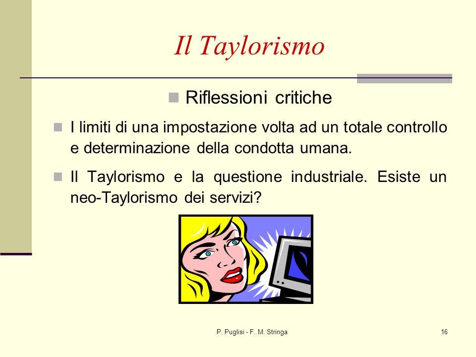 P. Puglisi - F. M. Stringa16 Il Taylorismo Riflessioni critiche I limiti di una impostazione volta ad un totale controllo e determinazione della condo