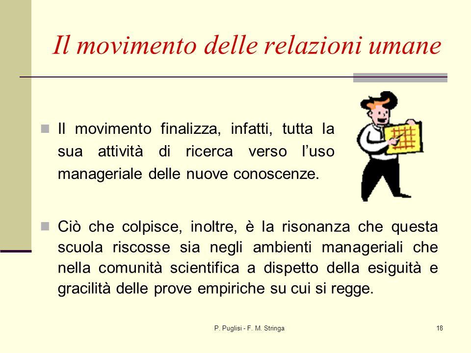 P. Puglisi - F. M. Stringa18 Il movimento delle relazioni umane Il movimento finalizza, infatti, tutta la sua attività di ricerca verso luso manageria