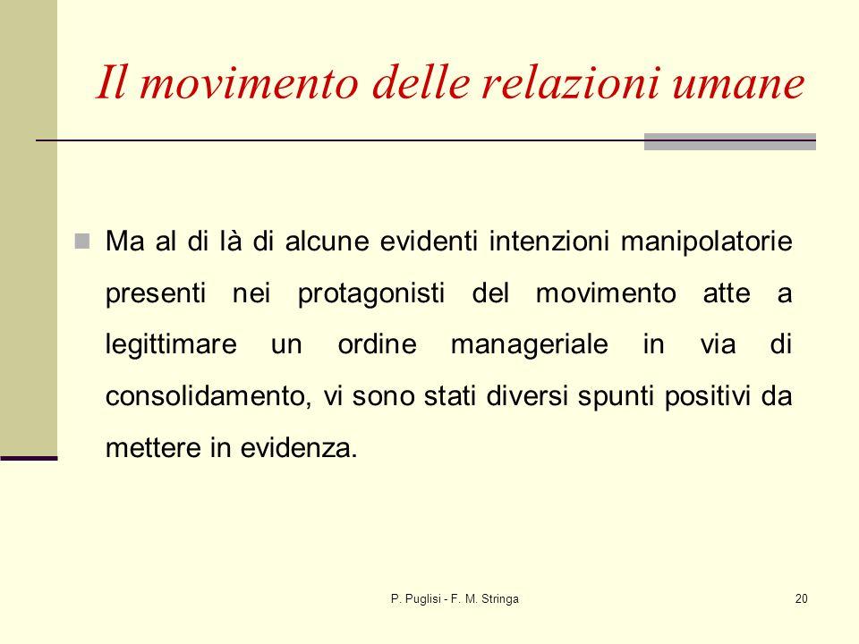 P. Puglisi - F. M. Stringa20 Il movimento delle relazioni umane Ma al di là di alcune evidenti intenzioni manipolatorie presenti nei protagonisti del
