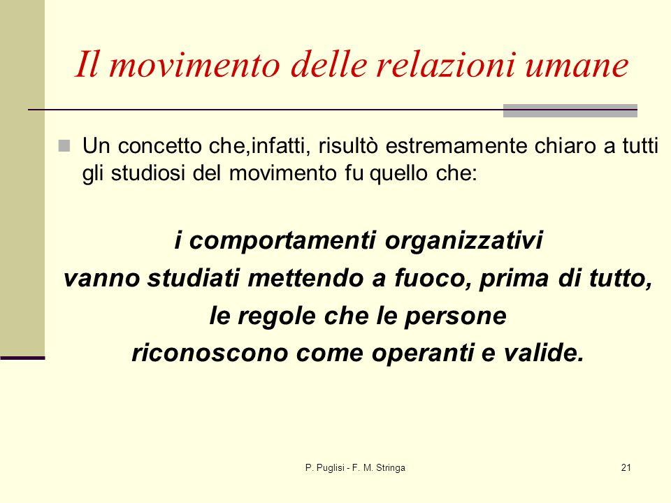 P. Puglisi - F. M. Stringa21 Un concetto che,infatti, risultò estremamente chiaro a tutti gli studiosi del movimento fu quello che: i comportamenti or