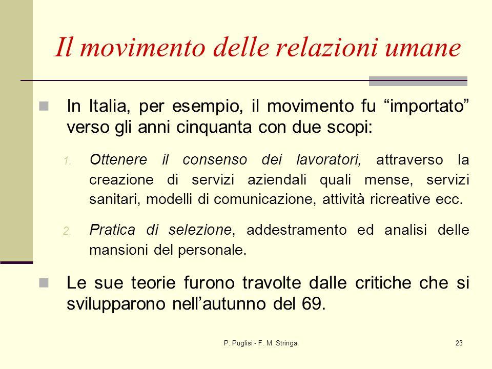 P. Puglisi - F. M. Stringa23 In Italia, per esempio, il movimento fu importato verso gli anni cinquanta con due scopi: 1. Ottenere il consenso dei lav