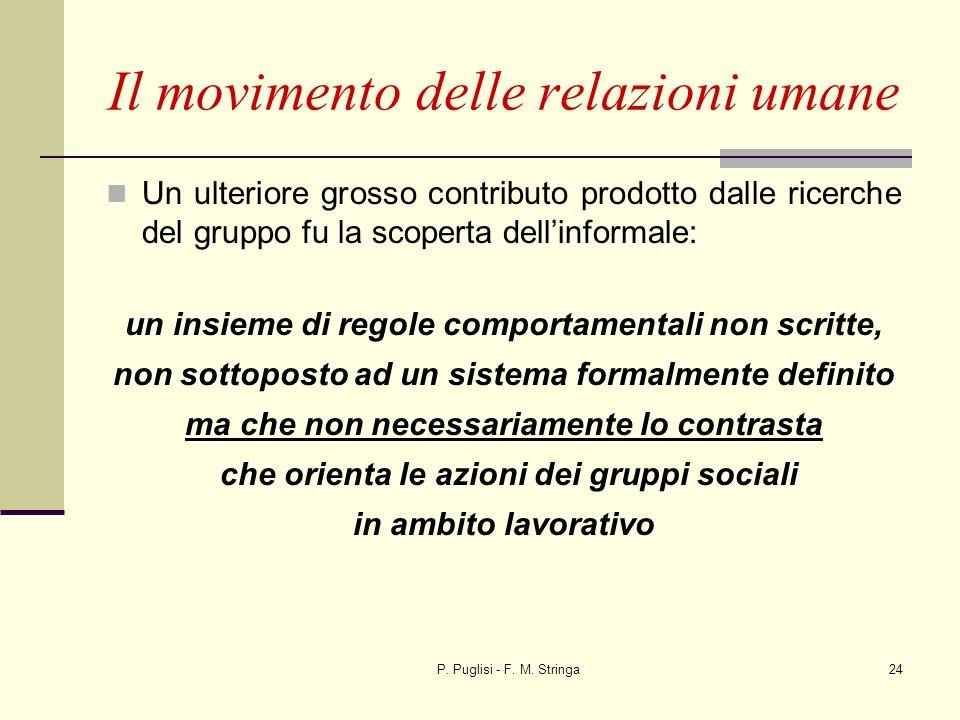 P. Puglisi - F. M. Stringa24 Un ulteriore grosso contributo prodotto dalle ricerche del gruppo fu la scoperta dellinformale: un insieme di regole comp