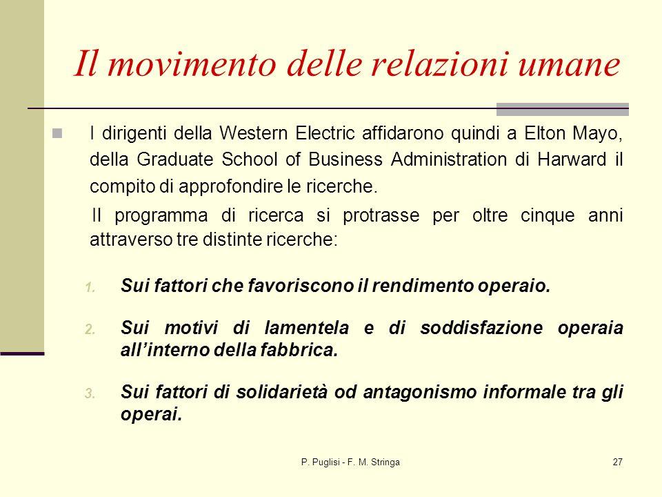 P. Puglisi - F. M. Stringa27 I dirigenti della Western Electric affidarono quindi a Elton Mayo, della Graduate School of Business Administration di Ha
