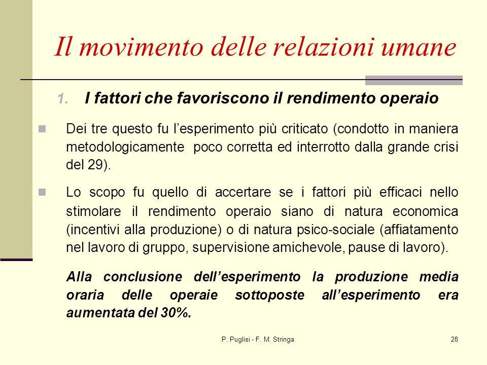 P. Puglisi - F. M. Stringa28 1. I fattori che favoriscono il rendimento operaio Dei tre questo fu lesperimento più criticato (condotto in maniera meto