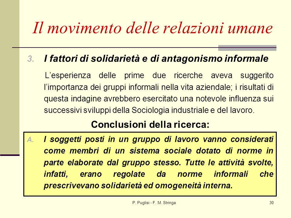 P. Puglisi - F. M. Stringa30 3. I fattori di solidarietà e di antagonismo informale Lesperienza delle prime due ricerche aveva suggerito limportanza d