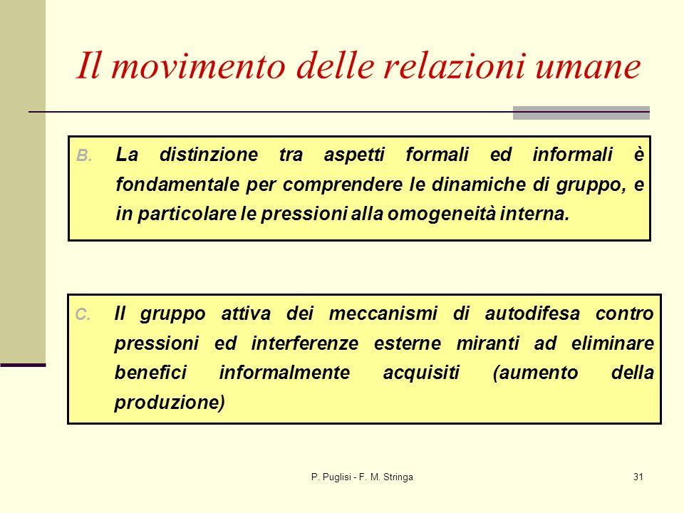 P. Puglisi - F. M. Stringa31 Il movimento delle relazioni umane B. La distinzione tra aspetti formali ed informali è fondamentale per comprendere le d
