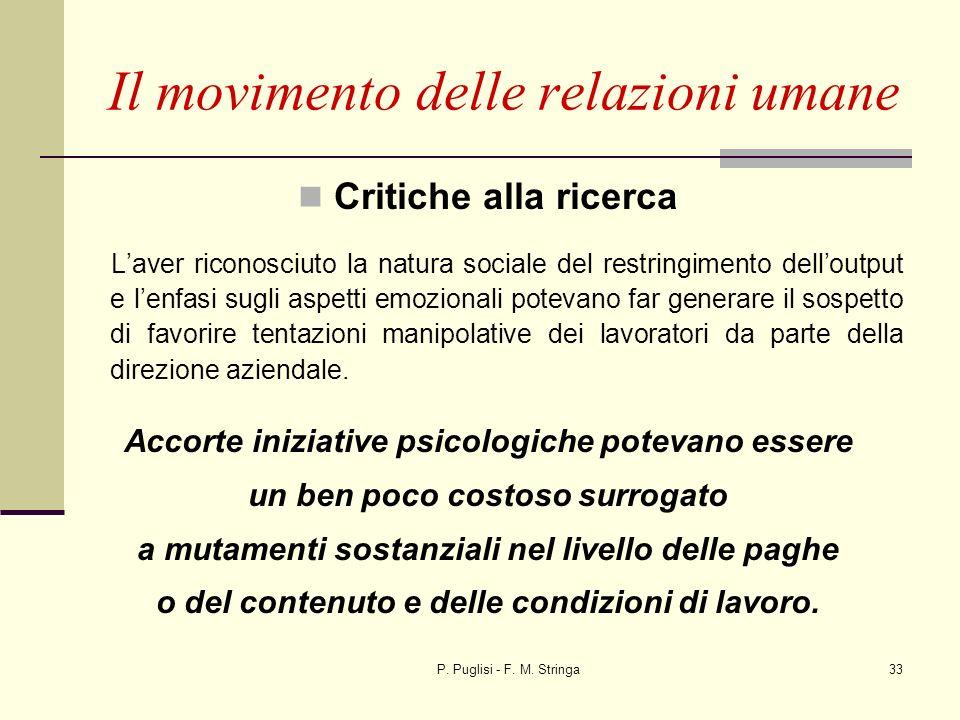P. Puglisi - F. M. Stringa33 Critiche alla ricerca Laver riconosciuto la natura sociale del restringimento delloutput e lenfasi sugli aspetti emoziona