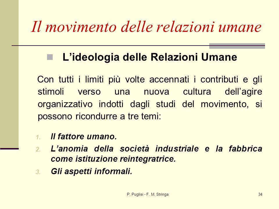 P. Puglisi - F. M. Stringa34 Lideologia delle Relazioni Umane Con tutti i limiti più volte accennati i contributi e gli stimoli verso una nuova cultur