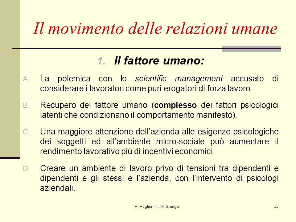 P. Puglisi - F. M. Stringa35 1. Il fattore umano: A. La polemica con lo scientific management accusato di considerare i lavoratori come puri erogatori