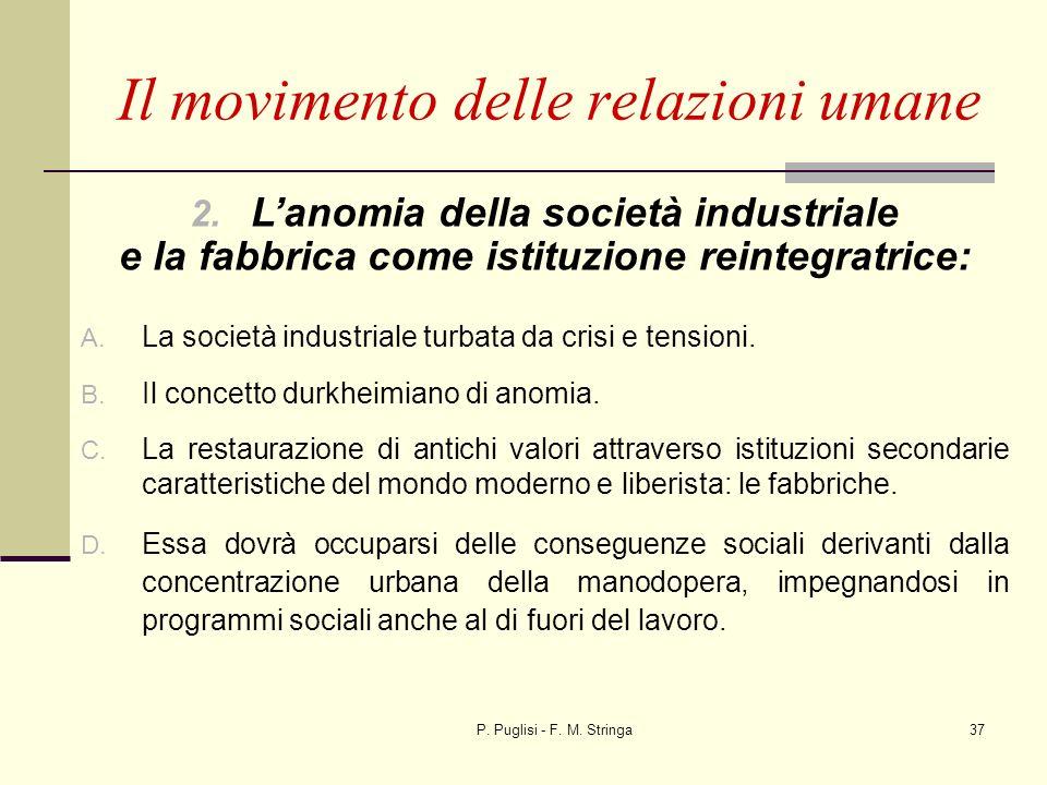 P. Puglisi - F. M. Stringa37 Il movimento delle relazioni umane 2. Lanomia della società industriale e la fabbrica come istituzione reintegratrice: A.